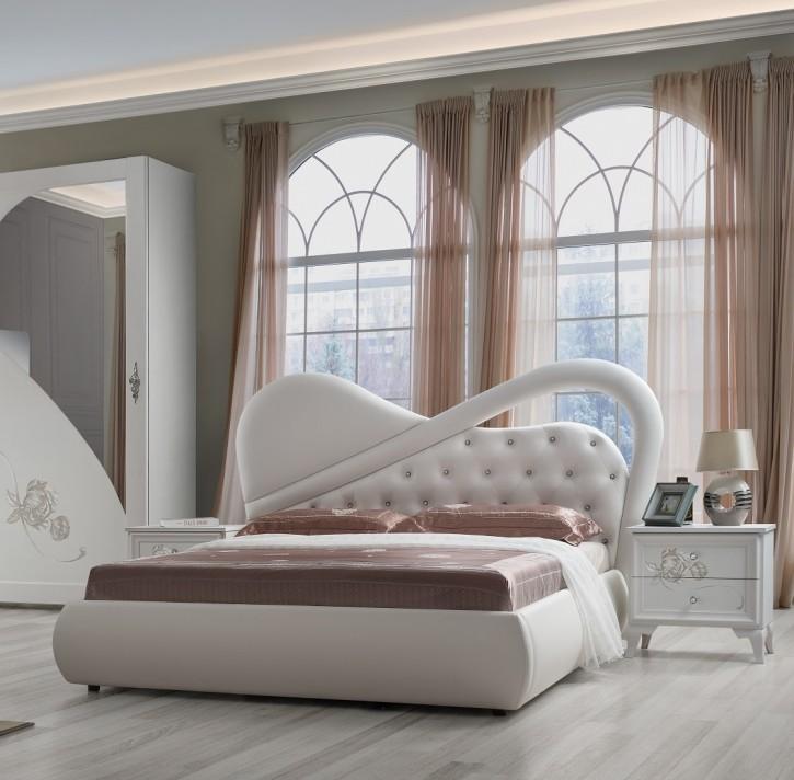 Modernes Bett Peonia in weiss mit Polsterung