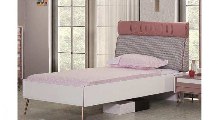 Kinderbett in weiß Rose weich gepolstert