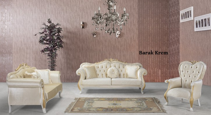 Sofa Couch Set Burak 3+2+1 in Creme in Gold