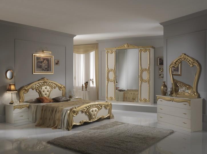 Schlafzimmer Set Cristina 6-teilig in Beige Gold 180x200 cm  / mit Schrank 4 türig / ohne Lattenrost / ohne Matratze