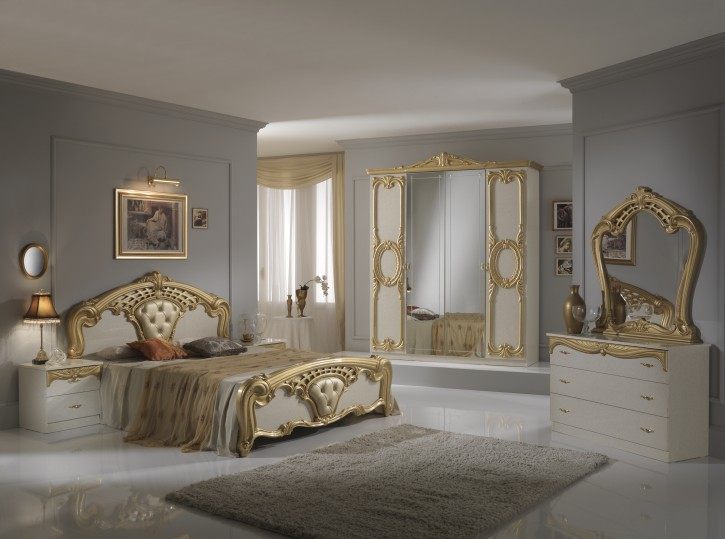 Schlafzimmer Set Cristina 6-teilig in Beige Gold