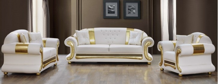 Sofa Set Ceylinaz 3+2+1 in Weiss-Gold