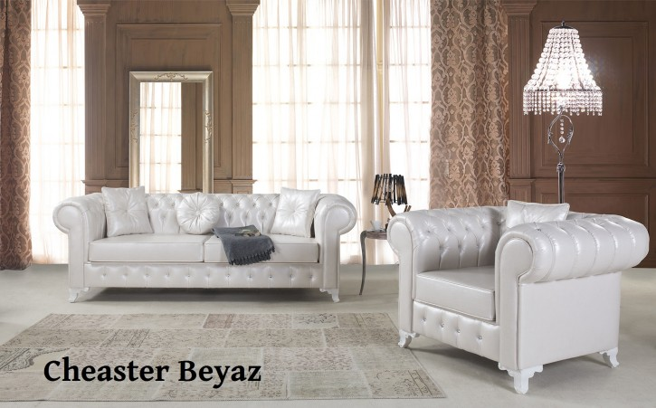 Sofa Set Chester 3+2+1 in Weiss