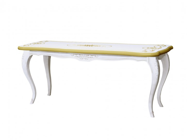 Couchtisch Rozza in Weiss/Gold Teilmassiv Barock Design