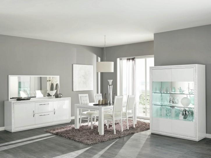 Esszimmerset Cristal mit 4 Stühlen in Weiss Modern Design
