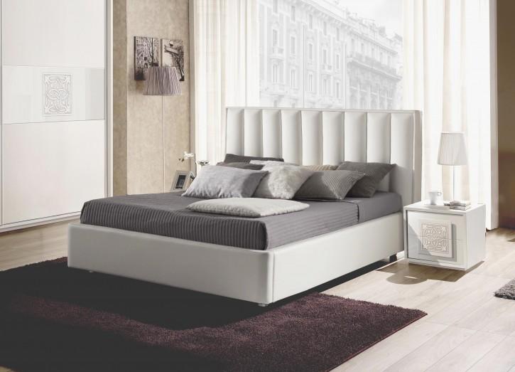 Bett Dama mit Stauraum in Weiß odern Design