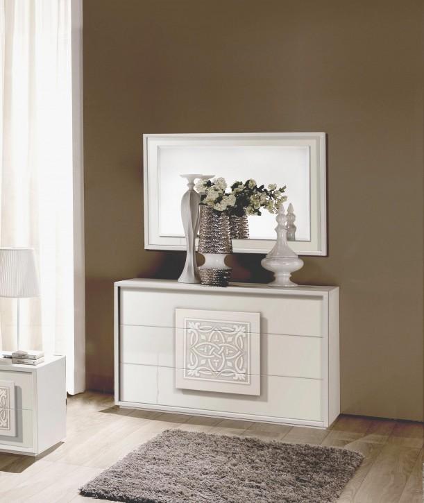 Kommode Dama mit Spiegel in Weiß Modern Design