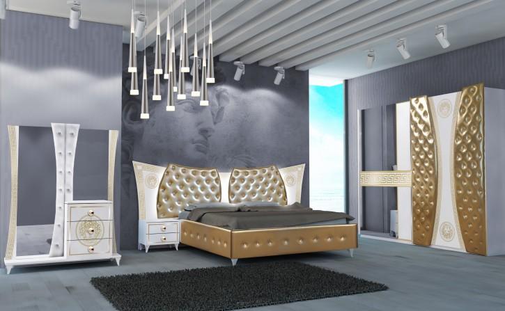 Schlafzimmer Set Delizia in Weiss Gold 160x200 cm / mit Lattenrost 26 Leisten