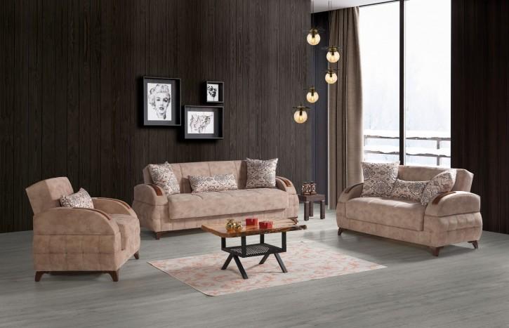 Sofa Couch Set Diva 3+2+1 in Beige mit Schlaffunktion