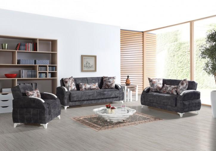 Sofa Couch Set Diva 3+2+1 in Dunkelgrau mit Schlaffunktion
