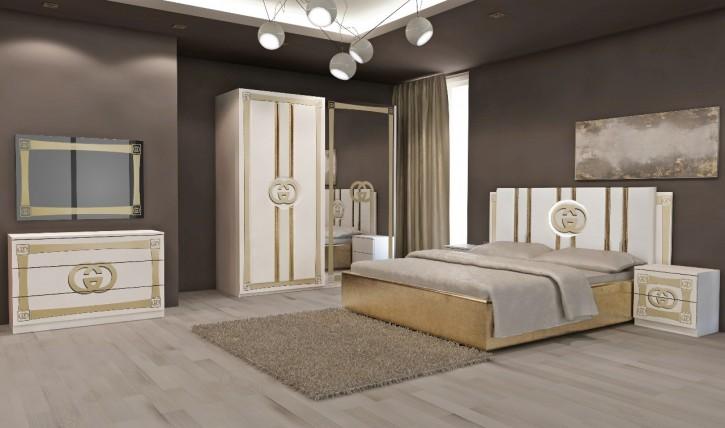 Schlafzimmer Set Double G in Weiß Gold