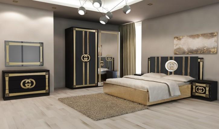 Schlafzimmer Set Double G in Schwarz Gold