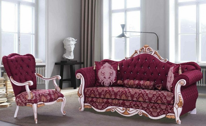 Couch Sofa Set Roza 3+1 in Rot Weis