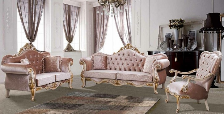 Couch Sofa Set Roza 3+2+1 in Beige Gold