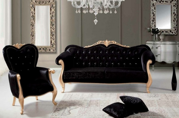 Couch Sofa Set Burak 3+1 in Schwarz gold