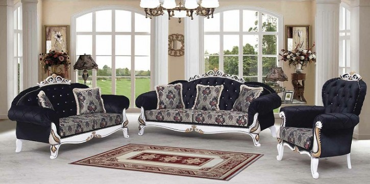 Couch Sofa Set Inci  3+2+1 in Schwarz weis