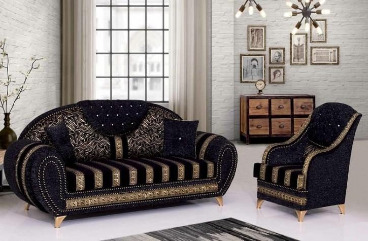 Sofa Couch Set Versace 3+2+1 mit Schlaffunktion