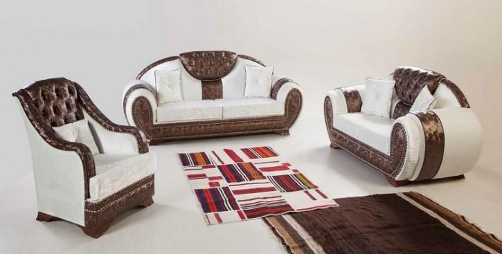 Sofa Couch Set Kraliyet  3+2+1 in Braun Weiss mit Schlaffunktion