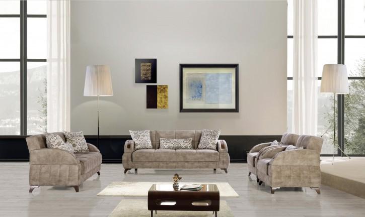 Sofa Couch Set Diva 3+2+1 in Hellgrau mit Schlaffunktion