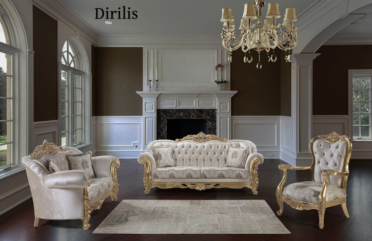 Couch Sofa Set Dirilis 3+2+1 in Creme Gold