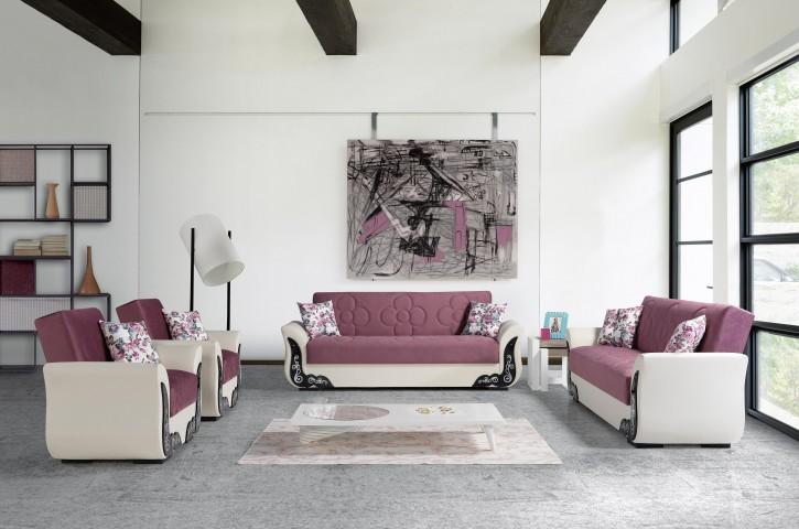 Sofa Couch Set Ece 3+2+1 in Rosa Weiß mit Schlaffunktion