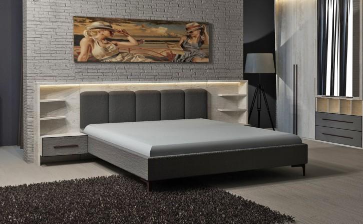 Bett Eden mit 2 Nachtkonsolen in Weiß Grau