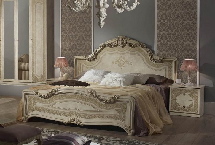 Bett Elena in Beige Klassisch Design