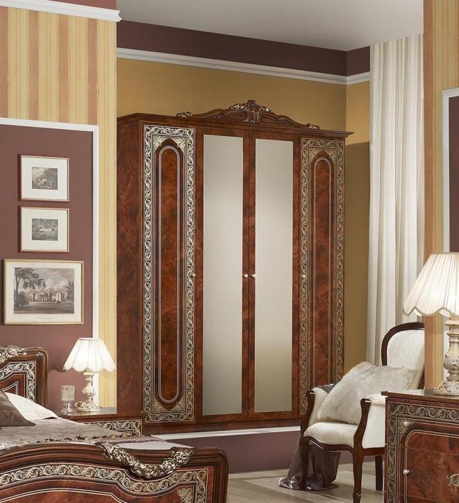 Kleiderschrank Elena 4-türig in Walnuss Klassisch Design