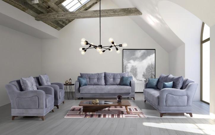 Sofa Couch Set Elis 3+2+1 in Blau mit Schlaffunktion