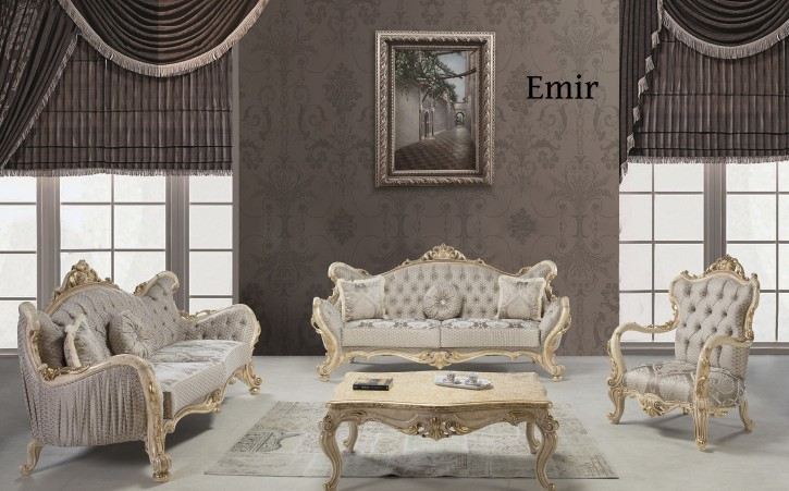 Couch Sofa Set Emir 3+3+1 in Beige Gold