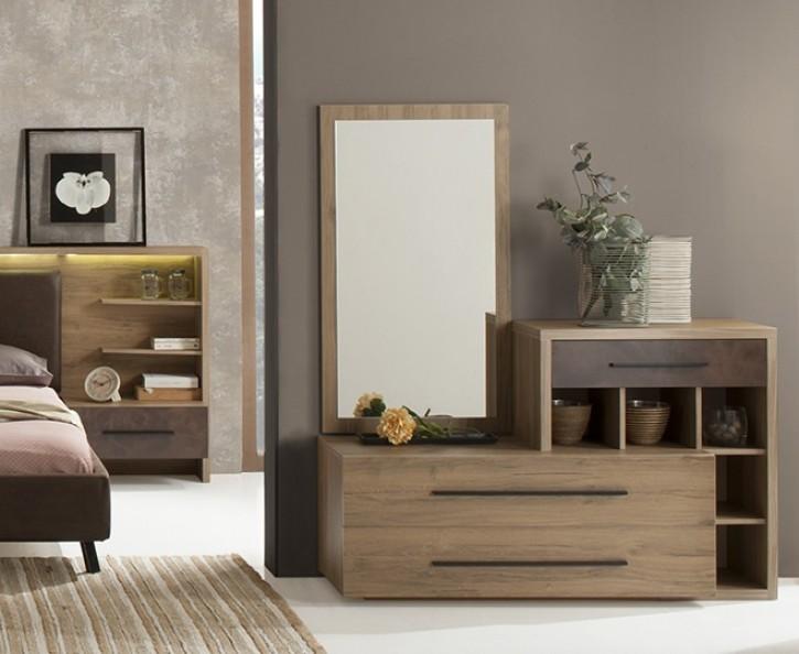 Kommode mit Spiegel Eden in Braun Modern Design