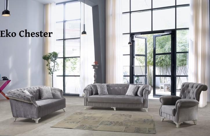 sofa set eko chester 3 2 1 in grau