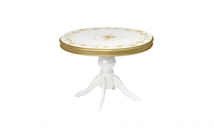 Esstisch Rozza in Weiss/Gold Teilmassiv Barock Design