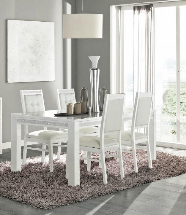 Esstisch Cristal mit 4 Stühlen in Weiß Modern Design