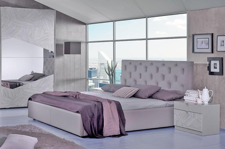 bett firenze in grau modern design 180x200 cm mit lattenrost 26 leisten. Black Bedroom Furniture Sets. Home Design Ideas