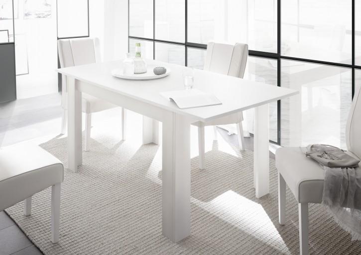 Tisch Fren 137 x 90 cm inkl Ansteckplatte weiss lack matt
