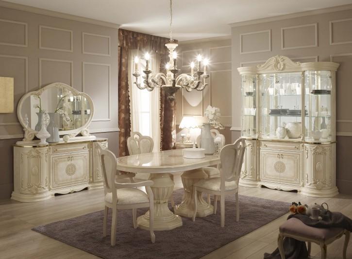 Esszimmer Great mit 4 Stüheln in Beige Gold Klassisch Elegant