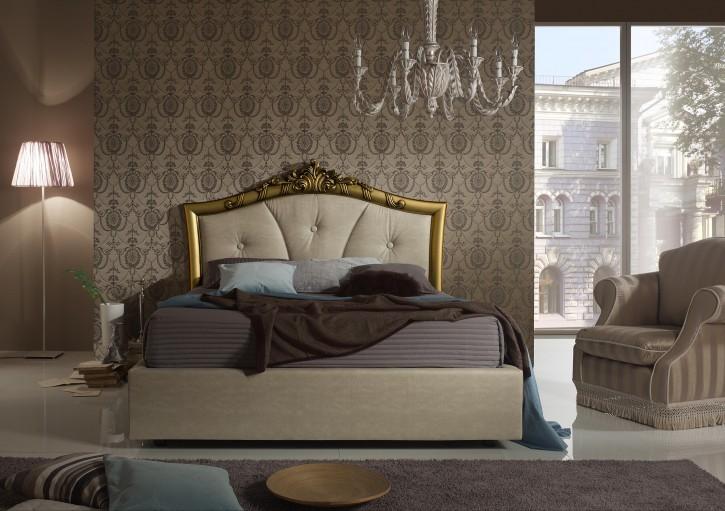 Bett Greta 160x200cm mit Stauraum in Beige Gold Luxus Design