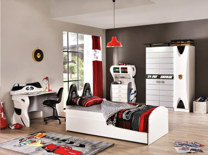 Kinderzimmer Garage in Weiß Schwarz