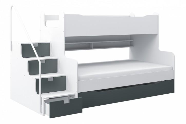 Etagenbett Hochbett MK4 mit Schubkastentreppe Weiß / Grau