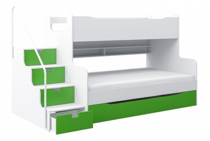 Etagenbett Hochbett MK4 mit Schubkastentreppe Weiß / Grün