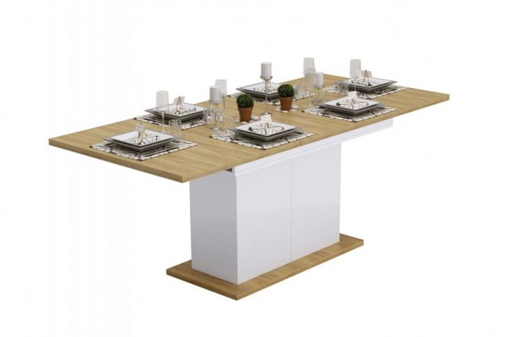 Esstisch Ausziehbar Dubai mit Stauraum in HG Weiss/Eiche 150-200cm