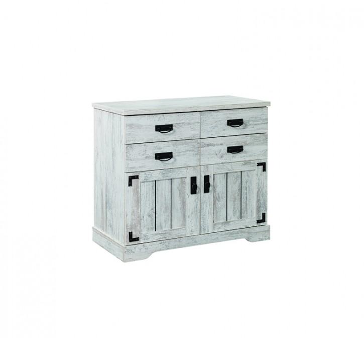 Wäschekommode Woodlife in Weiß Landhausstil