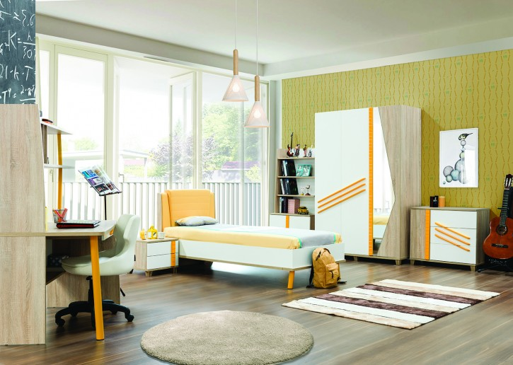 Kinderzimmer Street in Weiß Gelb komplett Set 6 teilig