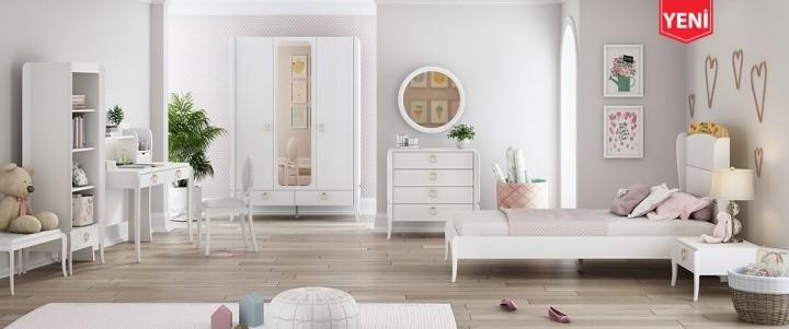 Jugendzimmer komplett Elegant White 7-teilig