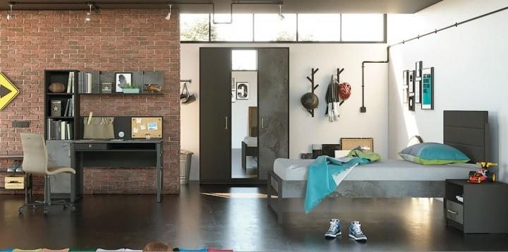 Jugendzimmer Set Nova in schwarz 4-teilig