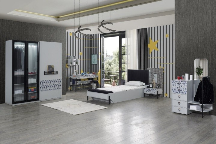 Jugendzimmer komplett Set Dynamic 7-teilig in Grau
