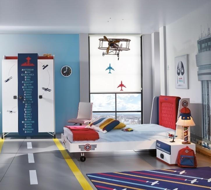Kinderzimmer Set Flugzeug Pilot 3-teilig