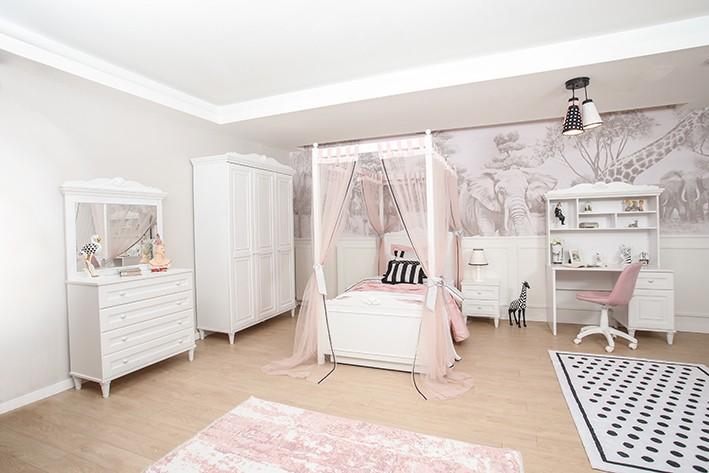 Mädchenzimmer Himmelbett Lora 100x200cm Set