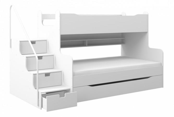 Etagenbett Hochbett MK4 mit Schubkastentreppe Weiß / Weiß